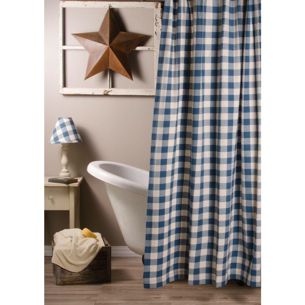 Ebay Sponsored Colonial Blue Buffalo Check Shower Curtain 72x72