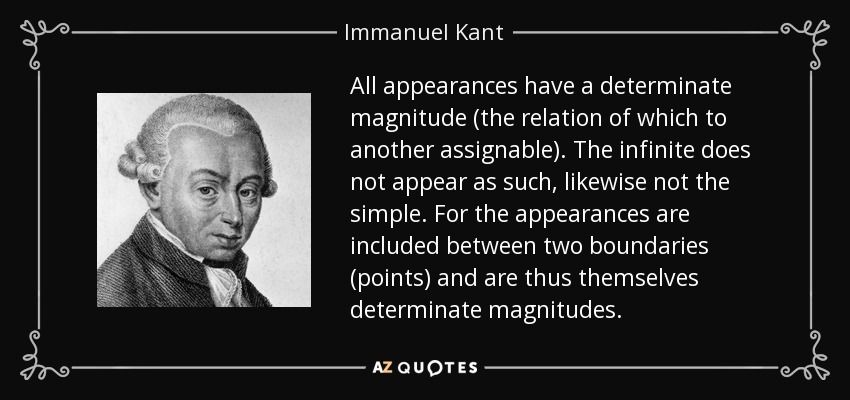 All appearances have a determinate magnitude (the relation of which to another assignable). The infinite does not appear as such, likewise not the simple. For the appearances are included between two boundaries (points) and are thus themselves determinate magnitudes. - Immanuel Kant