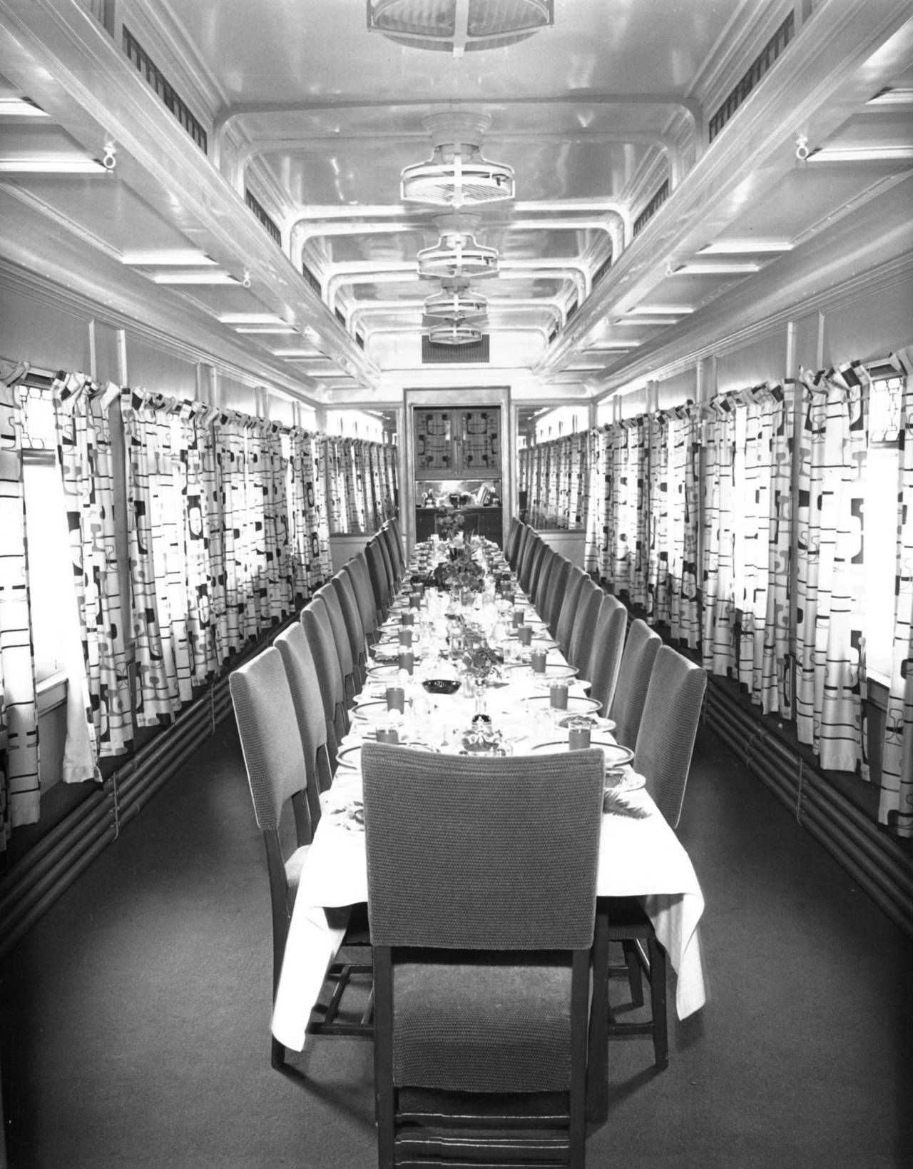 A dining car on display at the Chicago Railroad Fair in