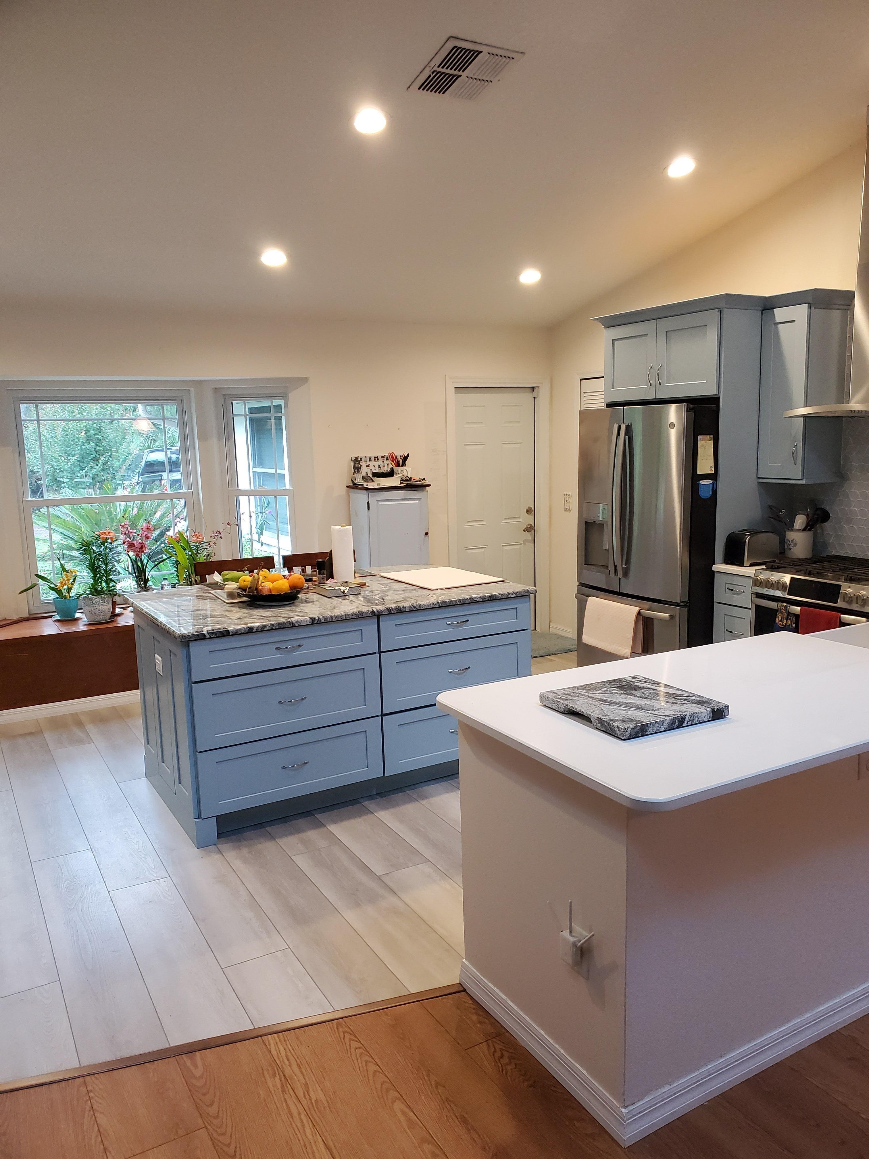 Powder Blue Kitchen In 2020 Blue Kitchens Blue Cabinets Glass Backsplash