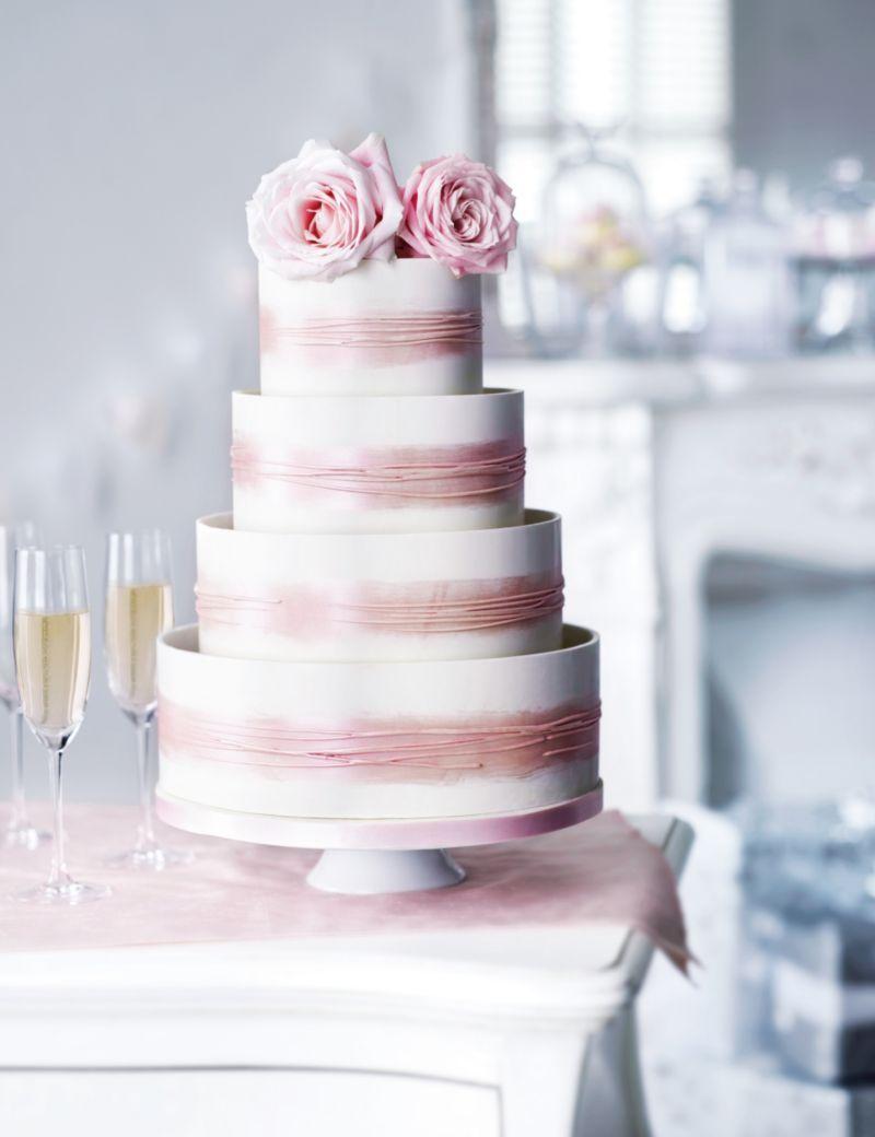 Shimmering Hoop Chocolate Wedding Cake White Pink M S