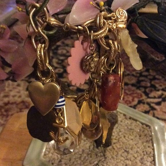 Vintage multi charms bracelet Amazing has 5 locket stones and deferent charms in gold plated Vintage Jewelry Bracelets