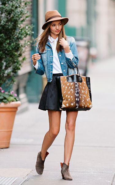 cute outfit... love the leather skirt, denim jacket, and booties