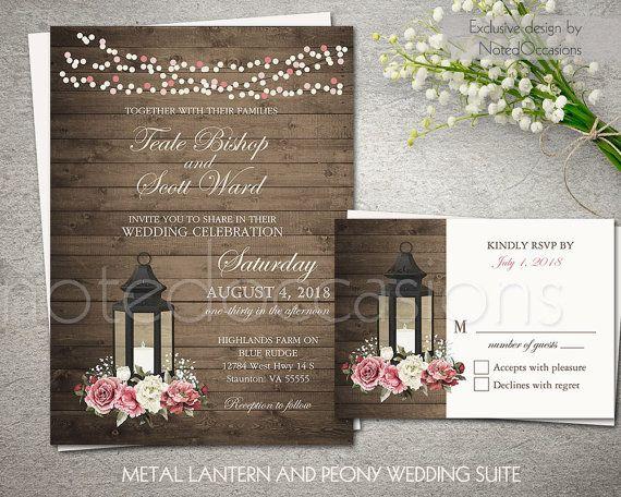 7f14941d7b89e Lantern Wedding Invitations Printable Country Wedding Invitation ...
