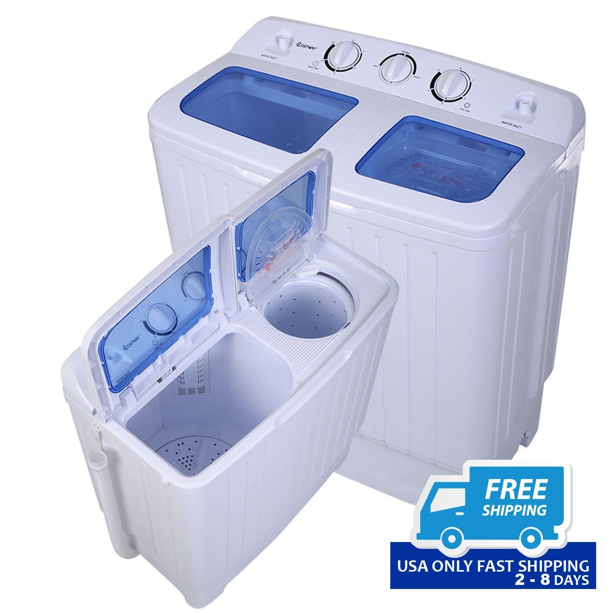 11 Lbs Compact Twin Tub Washing Machine Washer Spin Dryer Mini