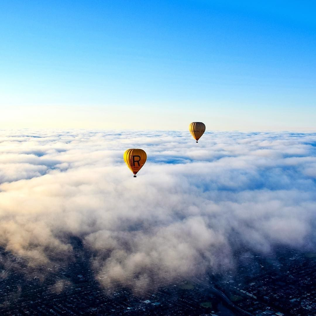 What better way to start your Sunday then with a beautiful hot air balloon on top of the clouds over Melbourne #hotairballoon #visitmelbourne #seeaustralia