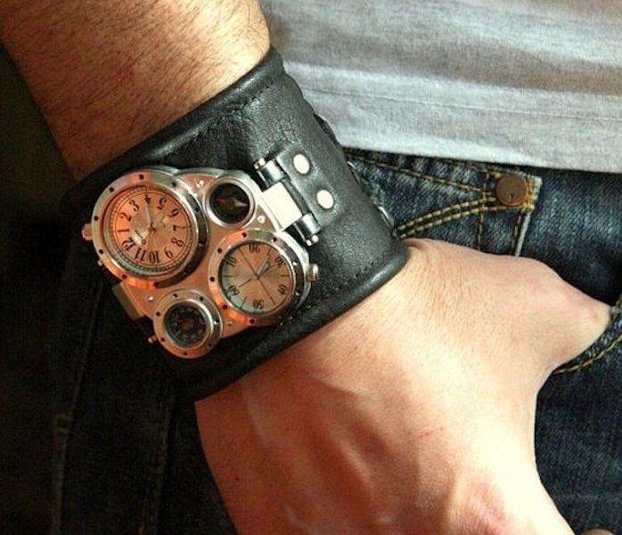 bracelet cuir large homme