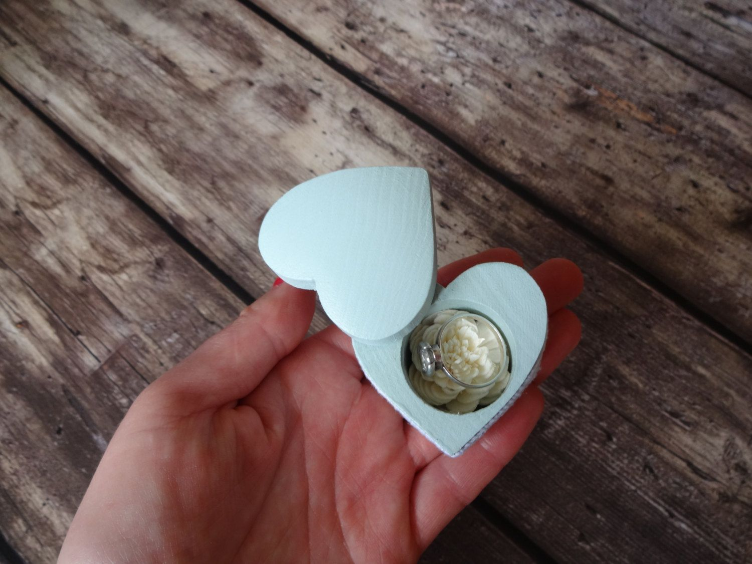 Mint Green Wedding Ring Box Small Woden Ring Box Heart Shaped Ring Box  Wooden Engagement Ring Box Tiny Wedding Ring Box Proposal Ring Box