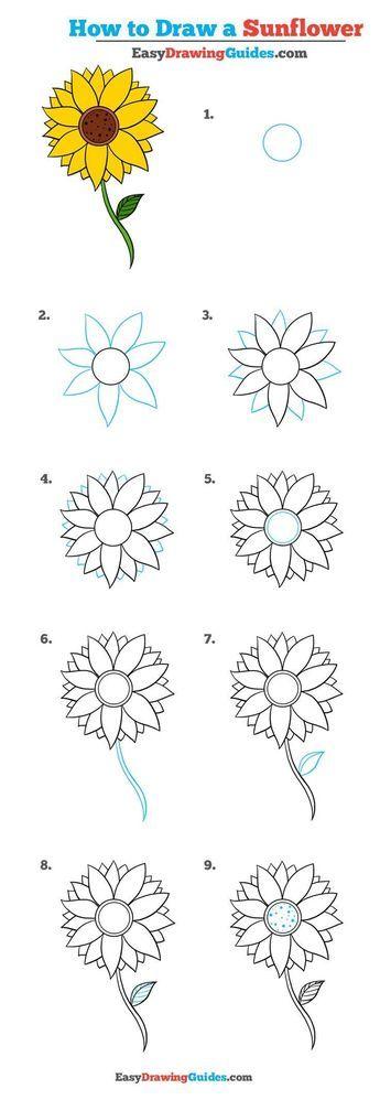 How To Draw A Sunflower Really Easy Drawing Tutorial Flores Faciles De Dibujar Girasoles Dibujo Dibujos Simples Tumblr