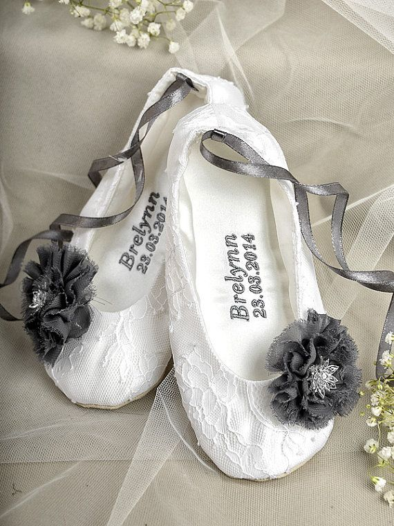 Satin Embroidery Flower Shoes Personalized Baby Toddle Ballet Flats For S White Lace Ballerina Slippers