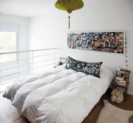 Usar un corcho lleno de fotos como respaldo de cama o como - Cuadros cabecera cama ...