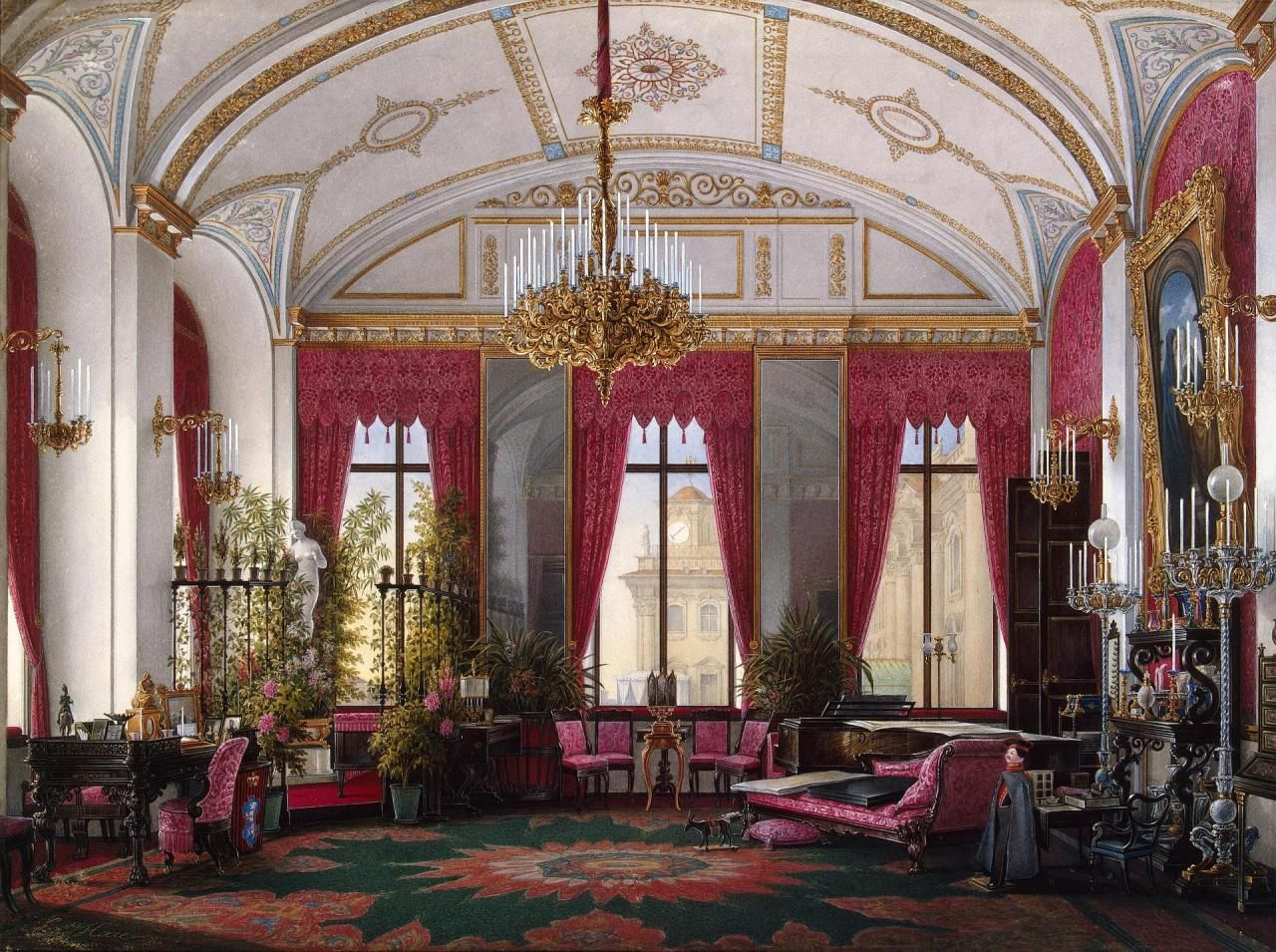"""ghosts-of-imperial-russia: """" Interiors of the Winter Palace. The Raspberry Study of Empress Maria Alexandrovna Hau, Edward Petrovich Russia, 1860s """""""