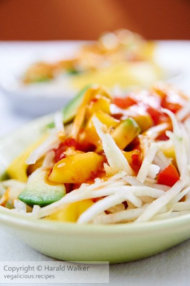 Recipe for a Crunchy Celery Root Salad with Mango Ginger Dressing