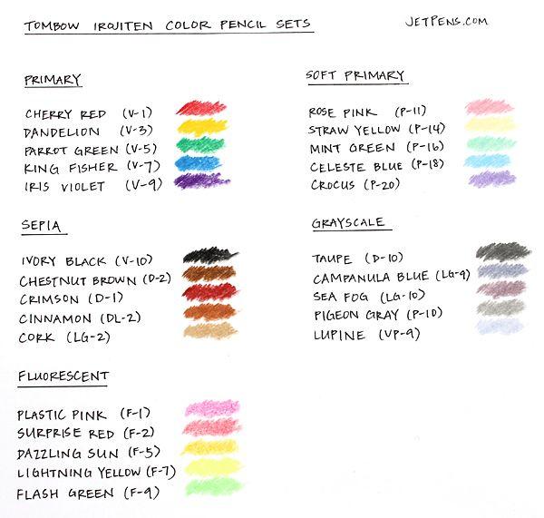 Tombow Irojiten Premium Artist Quality Color Colored Pencils Primary Set