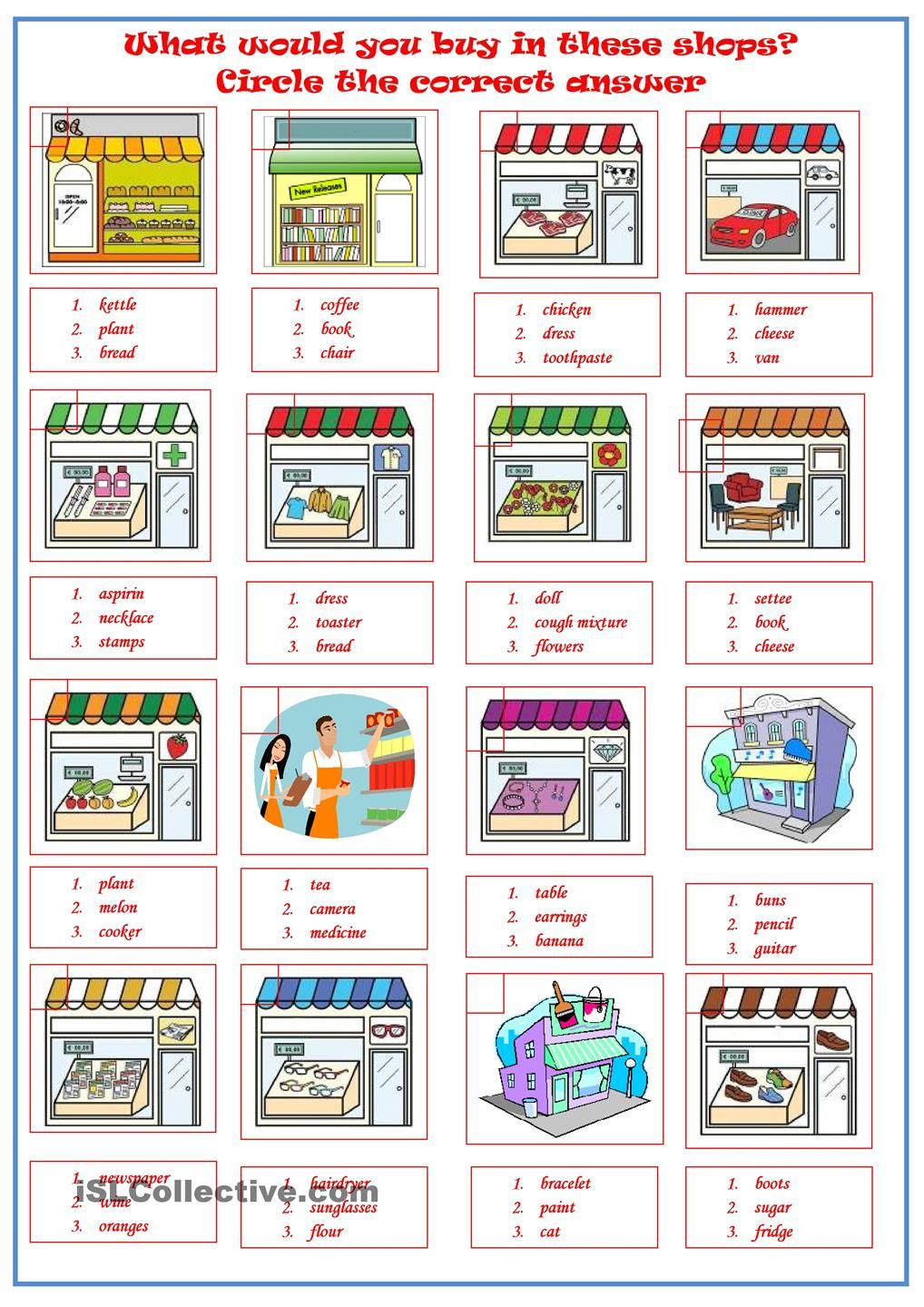 worksheet Shopping Worksheets shops circle the correct product worksheet esol pinterest free esl printable worksheets made by teachers