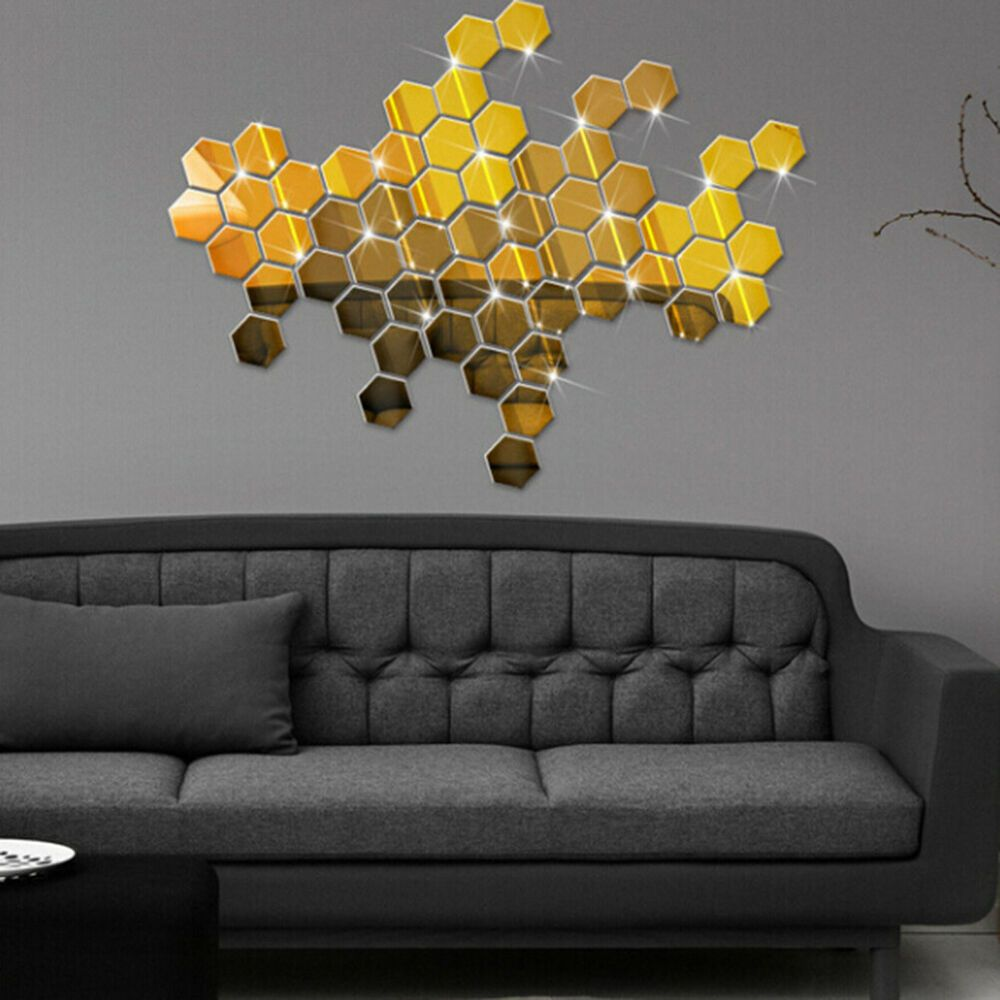 12pcs hexagon acrylic crystal 3D mirror effect wall decal ...