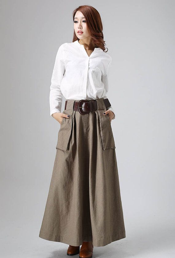 c02cc9ad744b Maxi skirt women linen skirt custom made long skirt with big pockets detail  (820)