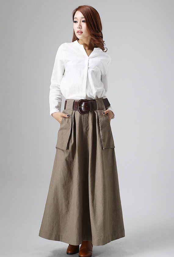 brown maxi skirt, linen skirt, long skirt, A line skirt, fall ...