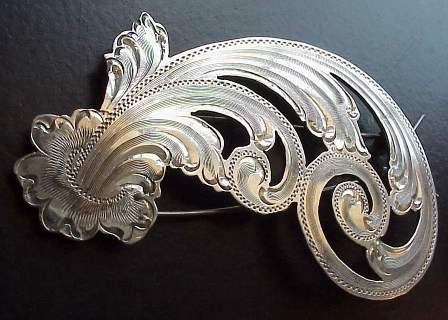Engraved Sterling Silver Hair Barrette Hair Accessories