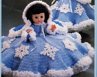 Vintage Crochet Pattern Southern Belle Antebellum Outfit For an 15 inch Doll PDF Instant Digital Download Dress Hat Handbag 80s Bed Doll
