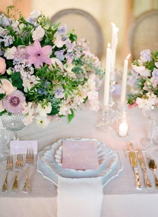 Beautiful vintage china and flowers with a hint of purple - Click for details and more of the top wedding trends to expect in 2016