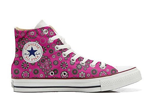 Converse All Star Hi Customized personalisierte Schuhe (Handwerk Schuhe) Hot Pink Paysley