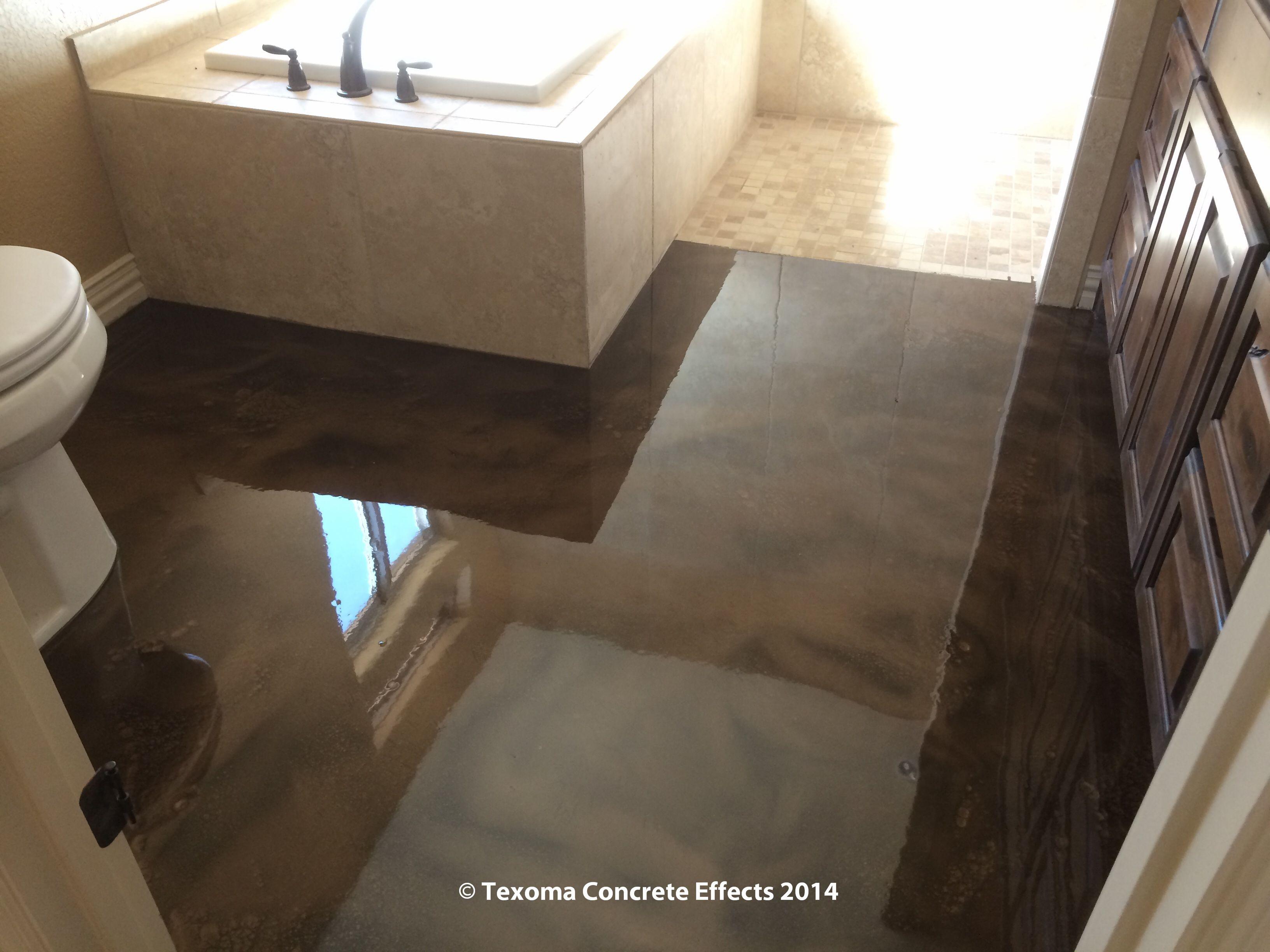 Epoxy floor bathroom - Metallic Epoxy Bathroom Floor By Texoma Concrete Effects Wichita Falls Tx