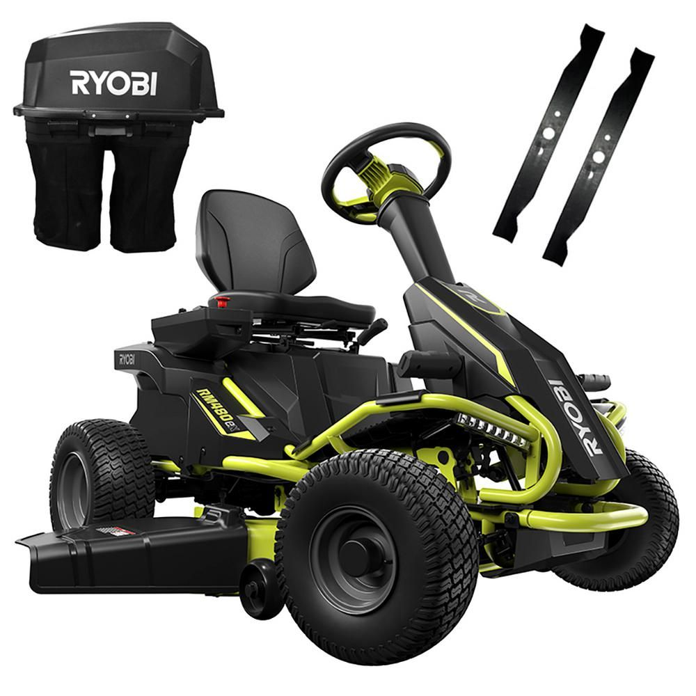 Ryobi 38 In 75 Ah Battery Electric Rear Engine Riding Lawn Mower And Bagging Kit In 2019 Products Riding Lawn Mowers Lawn Mower Electric Riding Lawn Mow