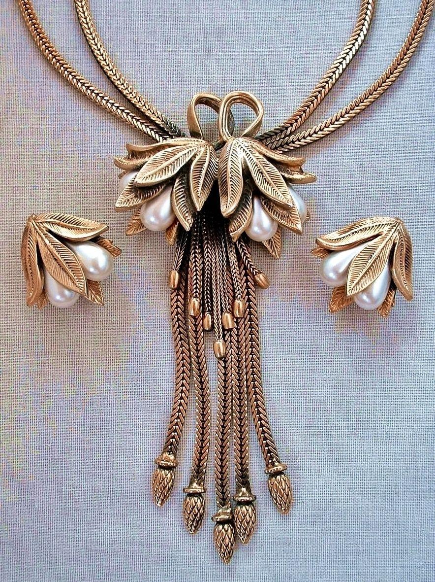 Vintage tortolani flower necklace earrings art nouveau lily design