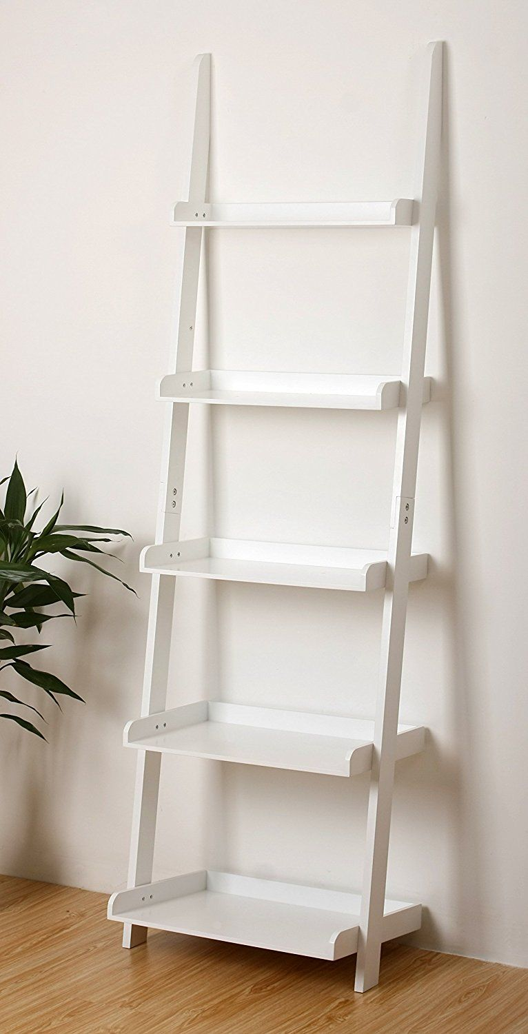 Amazon Com Ehemco 5 Tier Leaning Ladder Book Shelf In White Finish 21 5 8 W X70 H Kitchen Dining White Bookcase Ladder Bookcase Bookcase Shelves