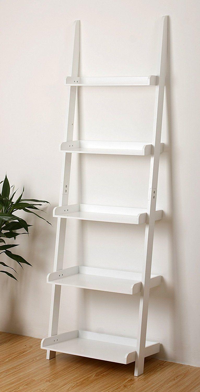 Amazon ehemco tier bookcase shelf ladder in white finish