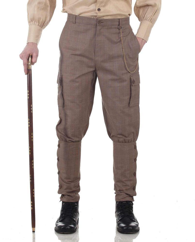 4f209ac78111 Mens Victorian Gentleman Steampunk Costume Pants Jodhpurs Gray 30's 40's  S-3XL #TragicMountain #Pants