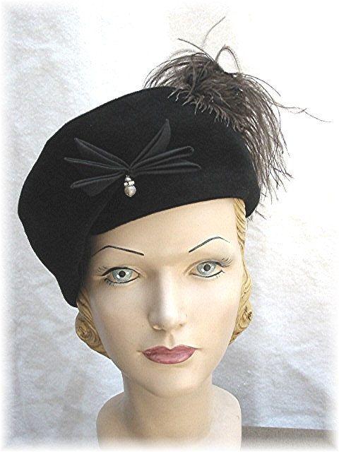 b09b9fcf9e1175 1950s Hat 50s Black Velvet Beret Look Pillbox w/Ostrich Feather. $85.00,  via Etsy.