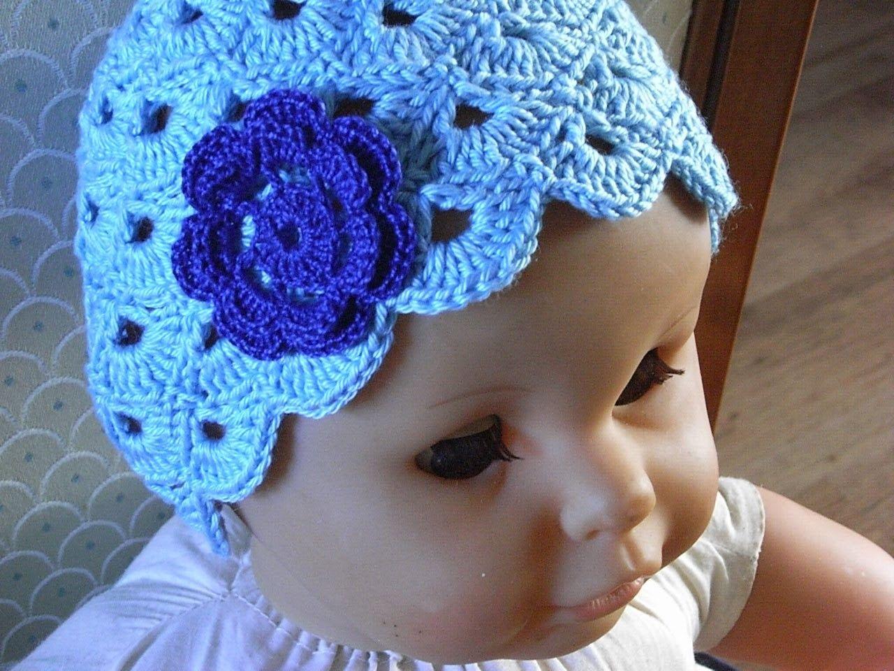 Baby Mütze Häkeln m. Muscheln muster Baby hat crochet*Tutorial ...