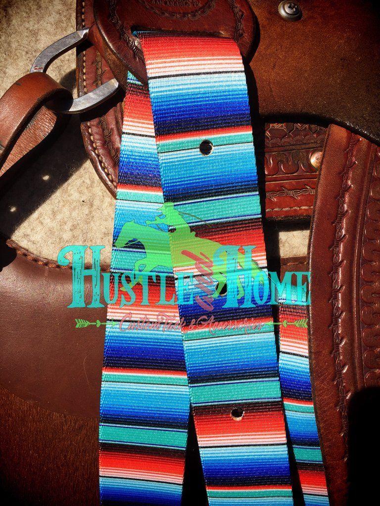 d58dcc37755a Turquoise Serape Print Cinch Straps , serape latigo from Hustle and Home  #serapetack #westerntack #horsetack #printedlatigo #coloredlatigo