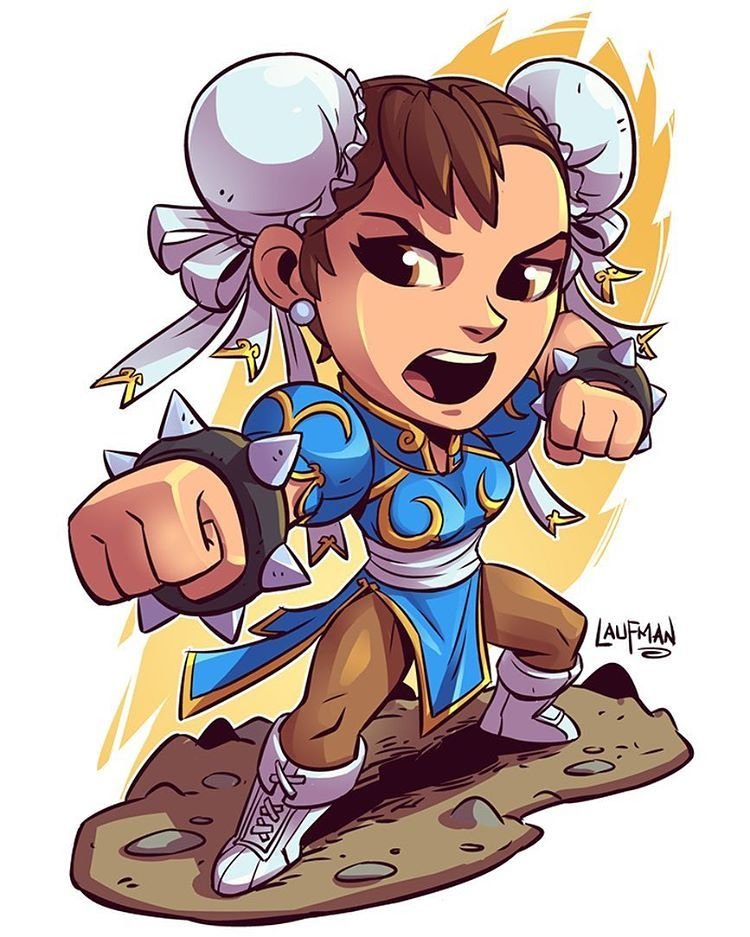 Chibi Chun-Li If anyone is interested in Chibi prints I have a 25%OFF sale on at my website www.dereklaufman.com (link in my profile) They make great gifts too:D #streetfighter #chunli #capcom #fightinggames #mangastudio #chibi #fanart #dereklaufman