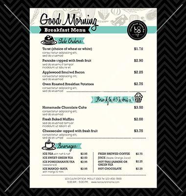 Restaurant Breakfast menu design Template layout vector image on