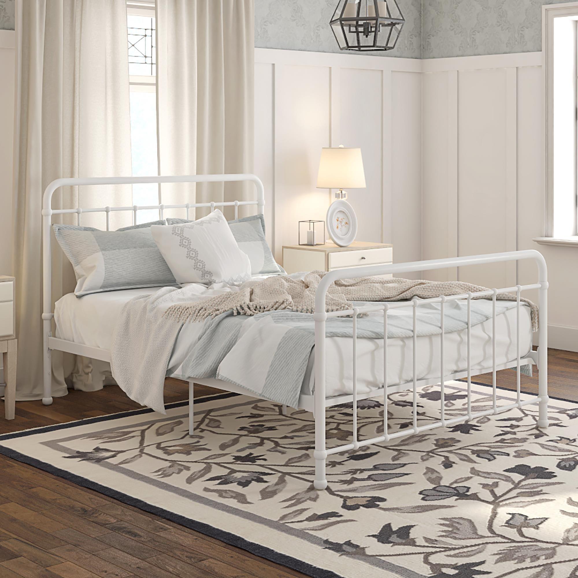 Home Metal platform bed, Bed frame, White metal bed