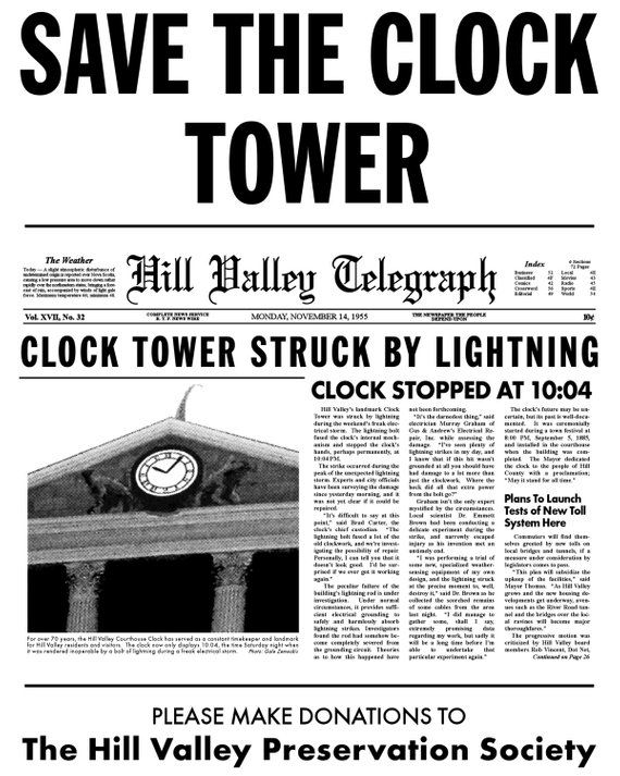 SAVE THE CLOCK TOWER BTTF Back To Future Hill Valley McFly T-Shirt SIZES S-5X