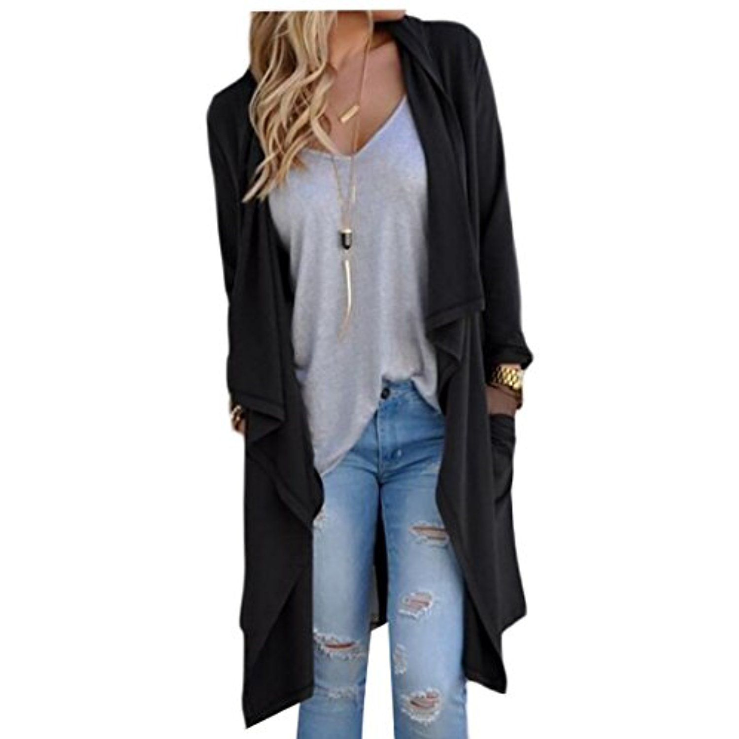 Beloved Women Lightweight Long Sleeve Open Front Drape Tunic ...