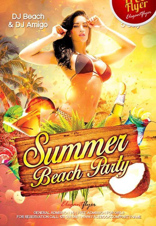 Free Summer Beach Party Flyer Template Dj Flyer Pinterest