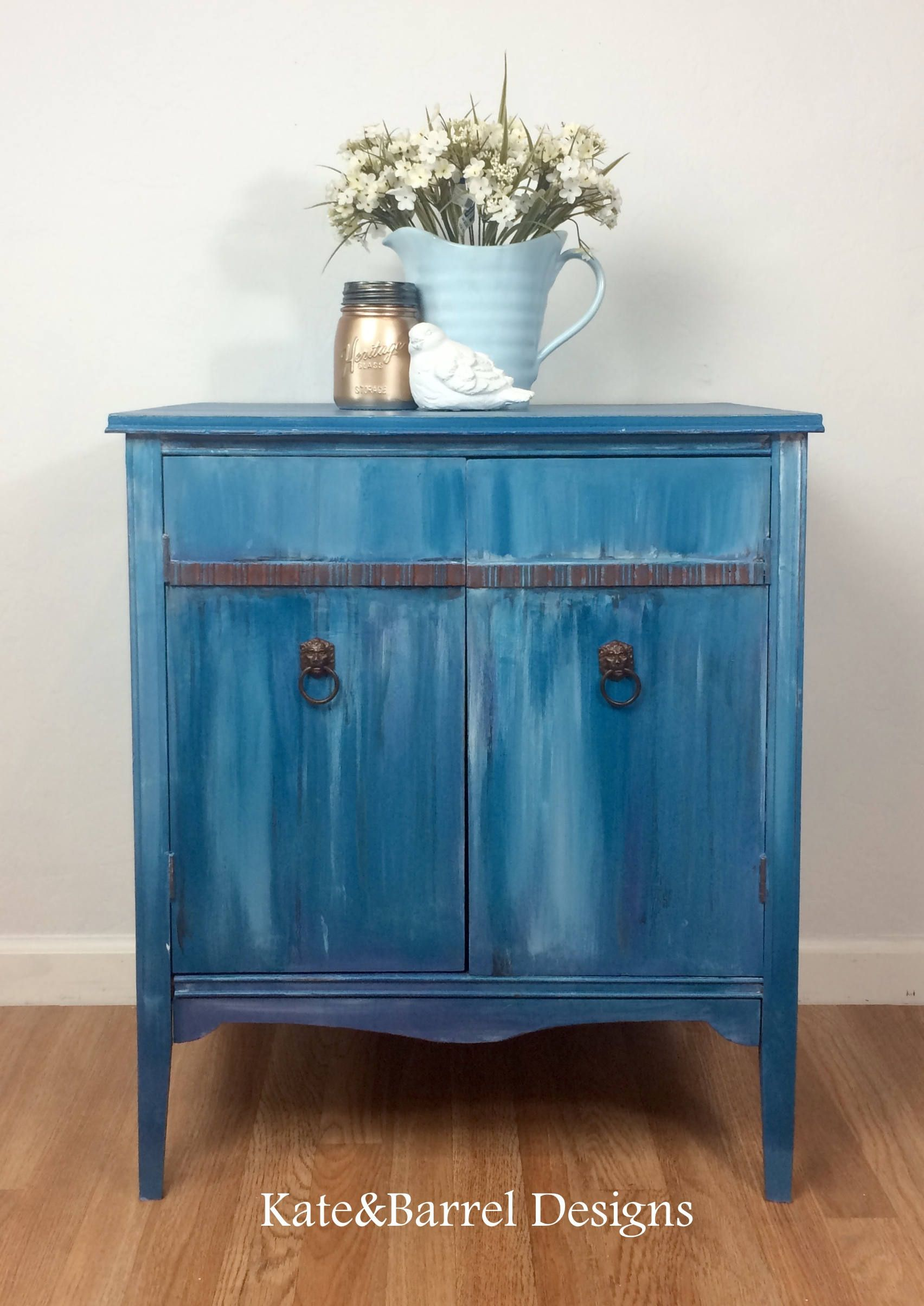 Vintage Cupboard Or Storage Cabinet In Washed Blues And Whites By Katenbarreldesigns On Etsy Misslilliannowaxchockpai Vintage Cupboard Storage Cabinet Cabinet