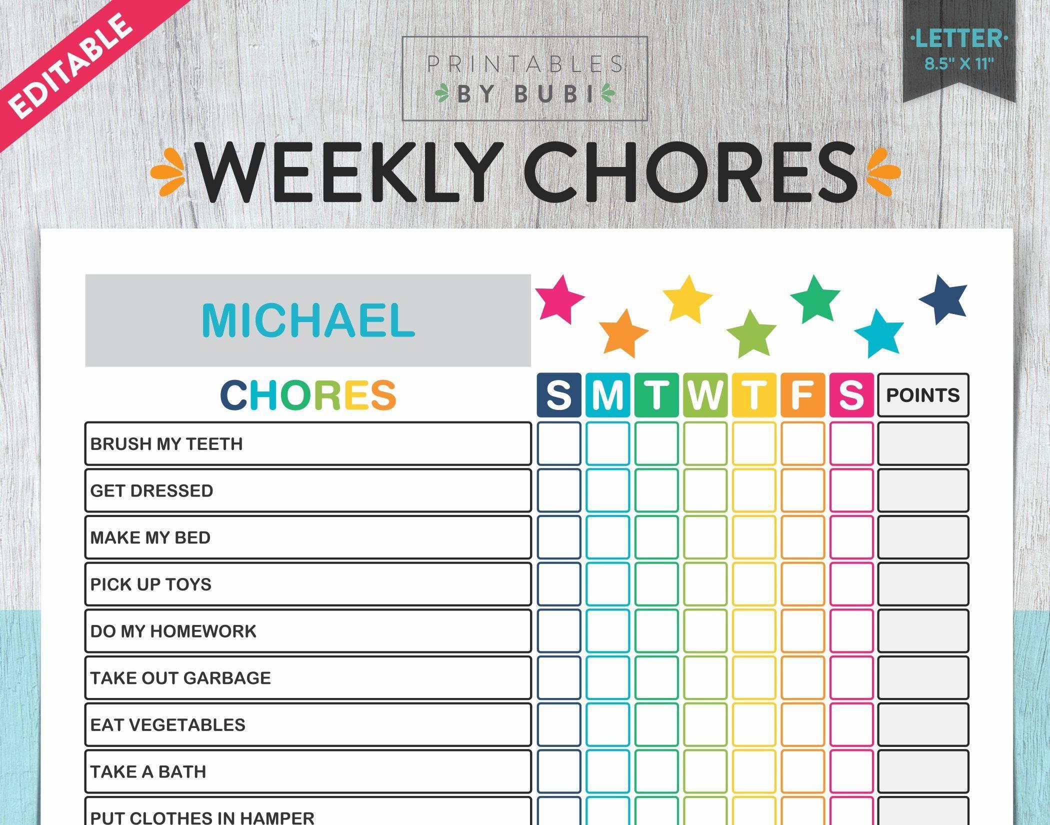 Kids Chore Chart Chore Chart for Kids Kids Chores   Etsy   Chore ...