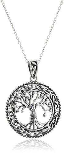 awesome Rhodium-Plated Sterling Silver Celtic Tree of Life Pendant Necklace, 18""