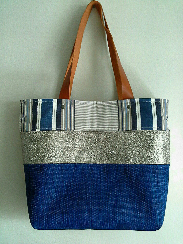 mod le unique sac cabas fait main tissu bleu electrique sacs main par fred creation sac. Black Bedroom Furniture Sets. Home Design Ideas