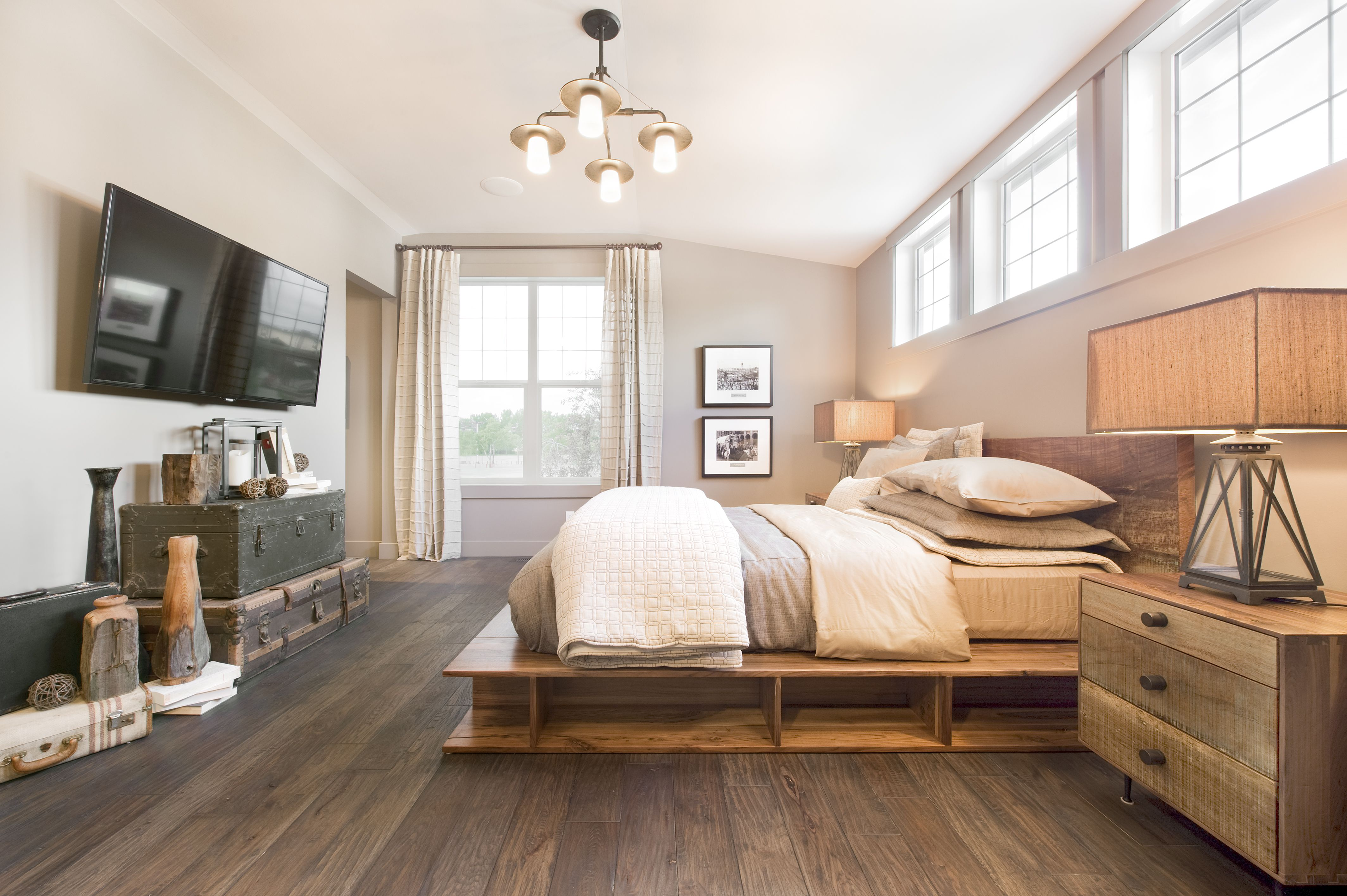 Master bedroom hardwood floors  The floors are reclaimed Amish oak with an oiled finish I love this