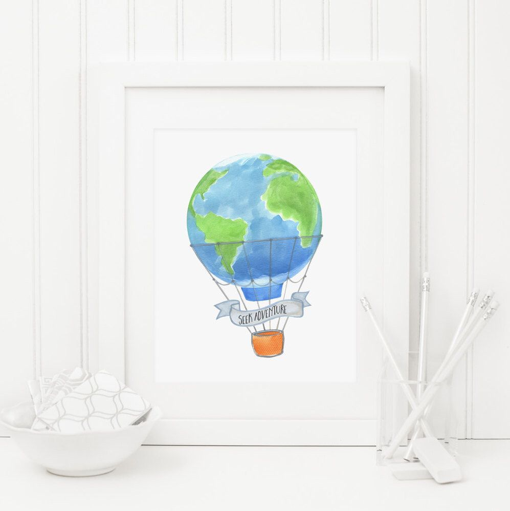 Hot air balloon printable seek adventure nursery globe print world hot air balloon printable seek adventure nursery globe print world map nursery adventure wall art map print watercolor hot air balloon gumiabroncs Image collections