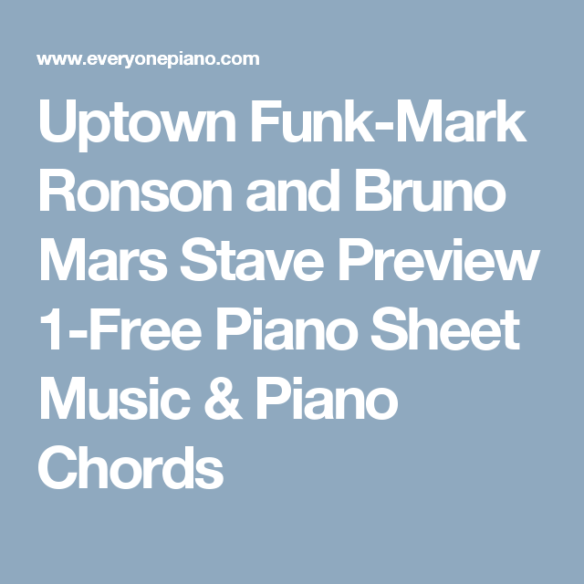 Uptown Funk Mark Ronson And Bruno Mars Stave Preview 1 Free Piano