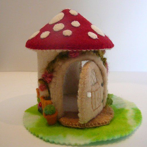gnome home gift for gardener tiny house gifts for her toadstool woodland nursery decor felt fairy house Needle-felted mushroom