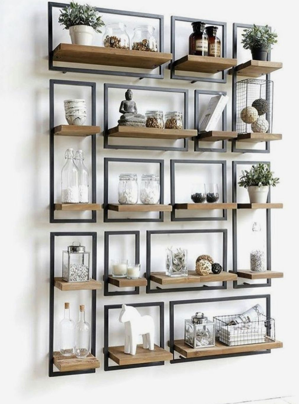 20+ Modern Industrial Iron and Wood Shelving Decor Ideas images